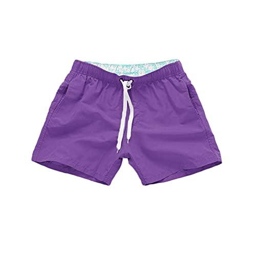 MOOKO Swim Trunks for Mens Quick Dry Beach Board Swim Shorts Elastic Waist Swimsuit Swimwear Bathing Suit with Pockets Purple
