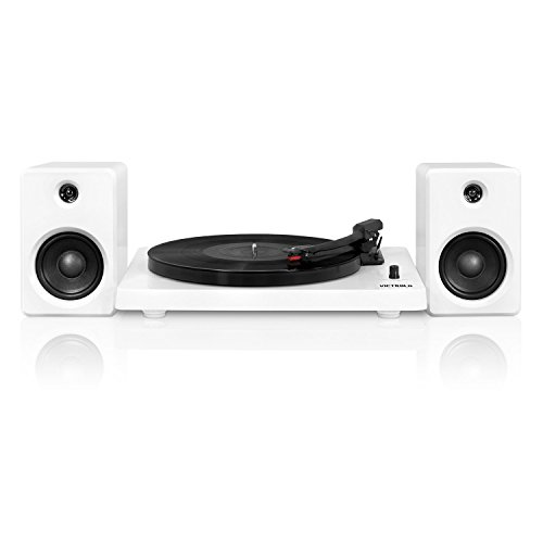 Victrola Modern 3-Speed Bluetooth Turntable with 50 Watt Speakers, White Piano Finish