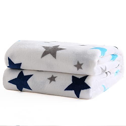 Mantas para Sofás de Franela 160X220CM Estampado Estrellitas Azul - Mantas para Cama de 135-150cm 100% Poliéster Suave y Cómodo-