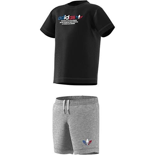 adidas GN7414 Short tee Set Sport Set Unisex-Baby Top:Black/Medium Grey Heather Bottom:Medium Grey Heather 912M