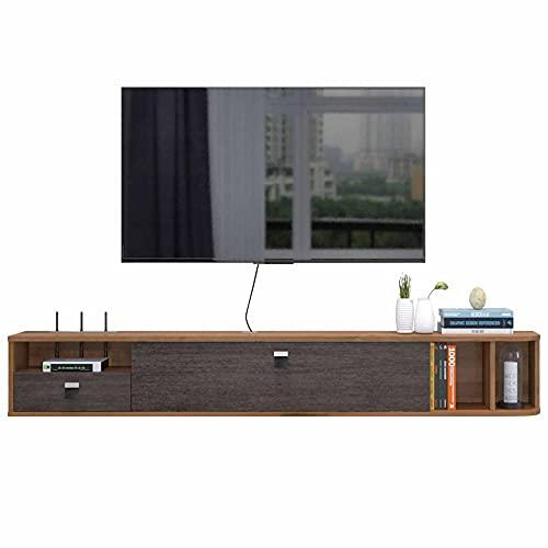 Mueble de TV Flotante, Mueble TV de Pared de Madera Maciza, Reproductor de DVD/Blu-Ray Montado en la Pared Soporte de Fondo Caja de TV Satelital Caja de Cable/Nuez/Los 140CM