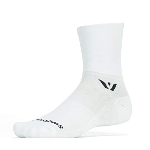 Swiftwick- ASPIRE FOUR | Socks Built for Trail Running and Cycling | Fast Drying, Firm Compression Crew Socks | White, Medium