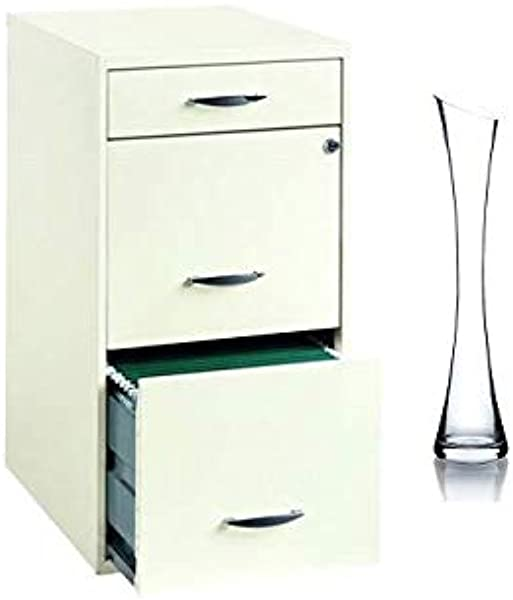 SOHO 18 Inch Deep 3 Drawer Organizer With Vase Pearl White