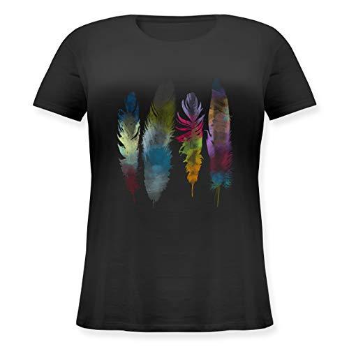 Kunst & Kreativität - Federn Wasserfarbe Watercolor Feathers - XL - Schwarz - Hipster - JHK601 - Lockeres Damen-Shirt in großen Größen mit Rundhalsausschnitt
