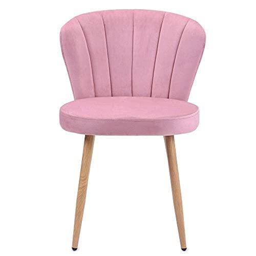 1 PC Esszimmerstühle Set Samt Küchenstuhl Wohnzimmerstuhl mit Shell-Stil Rückenlehne Vintage Sessel Polsterstuhl Komfort Sitzgefühl,Rosa