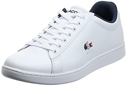 Lacoste Carnaby Evo TRI1 SMA, Baskets Homme, Blanc (WHT/NVY/Red), 43 EU