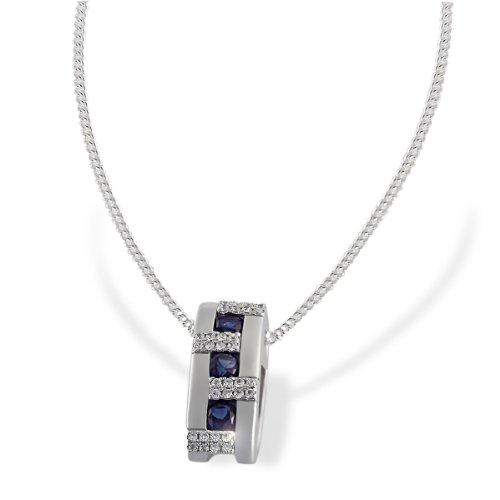 Goldmaid Damen-Halskette synth. Saphir 925 Sterlingsilber 32 weiße Zirkonia Kettenanhänger Schmuck
