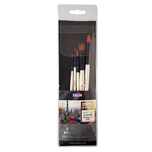Zieler® - 5 pennelli per artisti di alta qualità, in morbido nylon anti-caduta, setole sintetiche in fibre di alta qualità, realizzati in legno duro essiccato con finitura lucida.