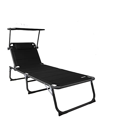 Homecall - Tumbona XXL con parasol, espuma de secado rápido, 200 x 70 cm, Negro