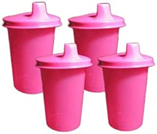 Tupperware Set 4 PINK Kids Bell Tumblers with PINK Sipper Sippy Seals