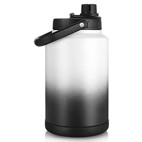 Sursip 128 Oz Water BottleVacuum Insulated Stainless Steel Double Walled Water JugThermos Water Bottle for Hot and Cold DrinksDurable and Resistant Water FlaskOne GallonWhiteampBlack
