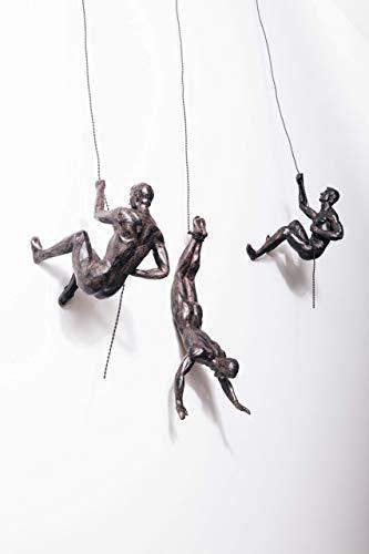 3x grandi trio di arrampicata in bronzo trio ornamenti pendenti figure set di 3 uominida parete figurine scultura scultura da parete in resina e metallo bungee jumping uomo appeso al filo