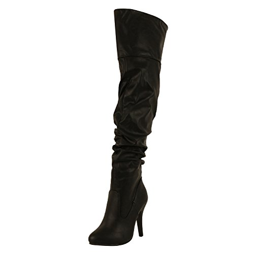 Forever Link Womens Focus-33 Fashion Stylish Pull On Over Knee High Sexy Boots,Black,10