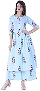 Stylum Women's Floral Print Cotton Flared Kurta Palazzo Set (Sky Blue)
