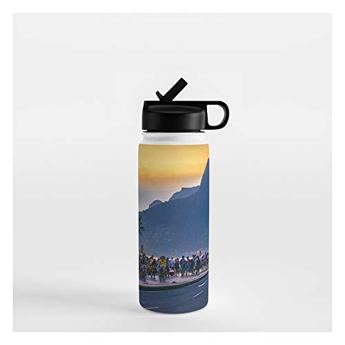 Society6 Ipanema Beach, Rio De Janeiro, Brazil by Dflc Prints on Water Bottle - 18 oz 532 mL - Straw Lid