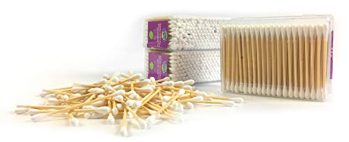 Home Point nachhaltige Wattestäbchen Holz und Baumwolle - 100% Wattestäbchen ohne Plastik - Pflegestäbchen - Ohrenstäbchen - Reinigungsstäbchen Wattestäbchen 600 Stk. (3er Packung)