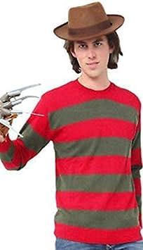 Dreamzfit - Disfraz unisex de pesadilla en ELM Street de Halloween Freddy Krueger de horror quemado de hombre gorro, puente y garra de miedo Carnaval conjunto de disfraces para fiestas (hombres: M)