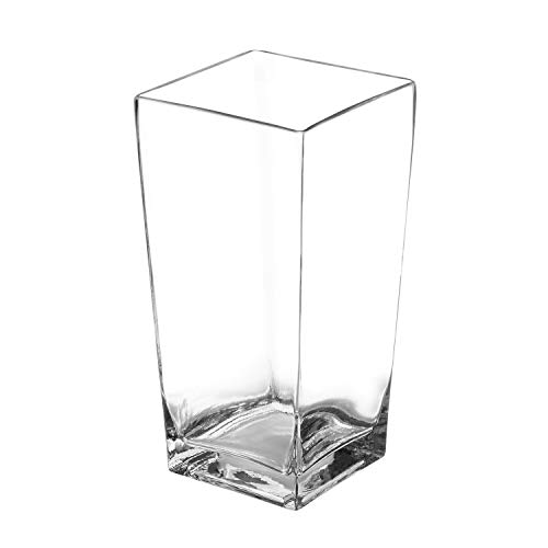 Royal Imports Flower Glass Vase Decorative Centerpiece for Home or Wedding Tall Square Tapered Shape, 10' Tall, 5'x5' Opening