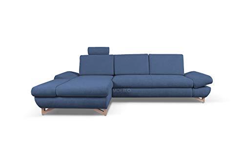mb-moebel Ecksofa mit Schlaffunktion Eckcouch mit Bettkasten Sofa Couch L-Form Polsterecke Merida (Dunkelblau, Ecksofa Links)