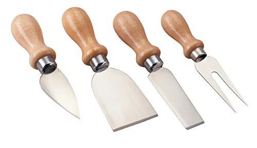 Kitchen Craft KCC4 Set de 4 Serveur de Fromage, Métal, Argent/Brun, 9 x 12 x 16 cm