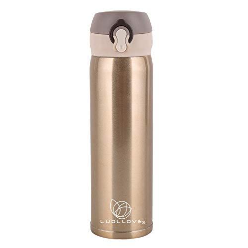 LUOLLOVE Bottiglia in Acciaio Inox, Bottiglia Termica,Acciaio Inossidabile a Doppia Parete,A Tenuta per Bevande Calde o Bevande Fredde 15.8 oz/450 ml(Champaign)