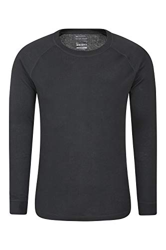 Mountain Warehouse Talus Herren Langarm Oberteil Rundhals Baselayer Unterhemd Funktionsunterwäsche Pullover Langarmshirt Thermounterwäsche Ski Snowboard Schwarz Medium