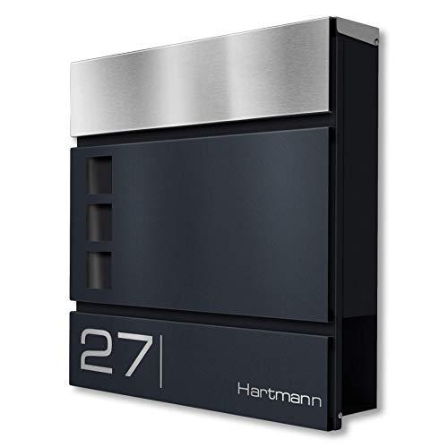 Metzler Briefkasten in Anthrazit RAL 7016 Cube - Name & Hausnummer als Lasergravur - Design Wandbriefkasten inkl. Zeitungsfach - Briefkasten mit Fenster - Größe: 37 x 37 x 10,5 cm