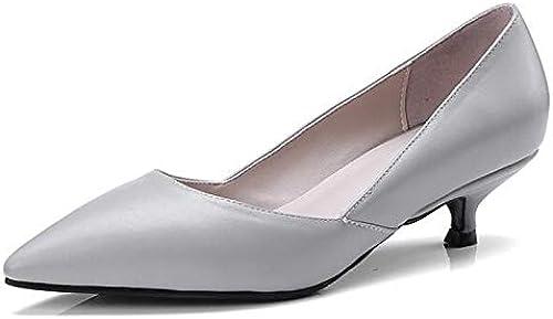 ZHZNVX zapatos de mujer Nappa Leather Spring Tacones con Bomba Básica Low Heel blancoo negro gris