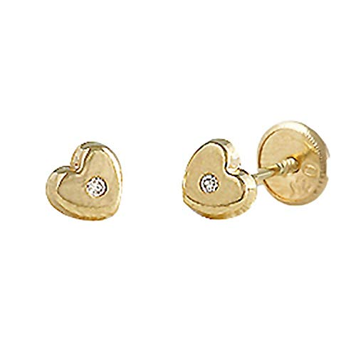 Pendientes oro 18k bebé 3.5mm. colección Baby corazón diamante brillante 0.02ct. cierre tuerca