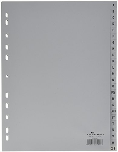 Preisvergleich Produktbild Durable 650810 A-Z Register (A4,  geprägte Taben,  24tlg.,  aus PP,  volldeckend) 10 Stück