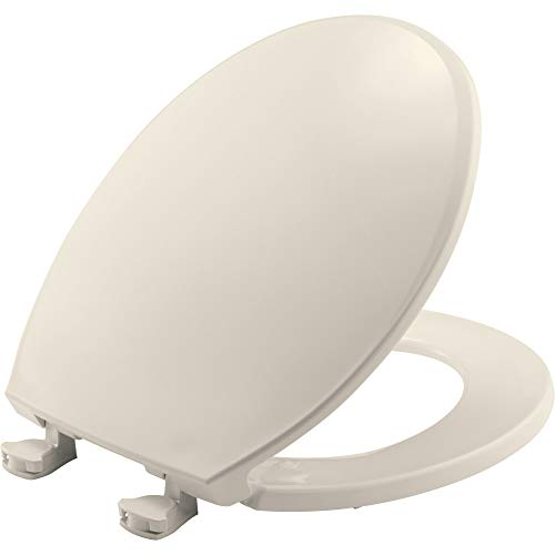 BEMIS 800EC 346 Plastic Toilet Seat with Easy Clean & Change Hinges, ROUND, Biscuit/Linen