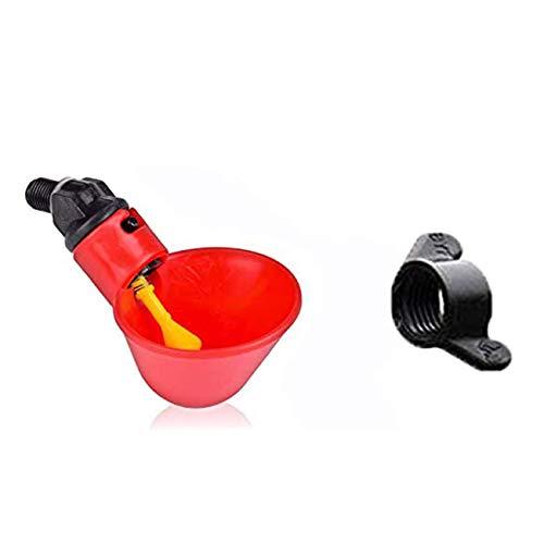 Ashley GAO Bol automático para beber pájaro, paloma, codorniz, color rojo