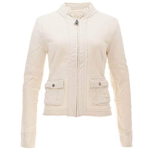 Better Rich Damen Sweatjacke mit gefransten Kanten Jacket Coco Größe XXL Weiß (weiß)