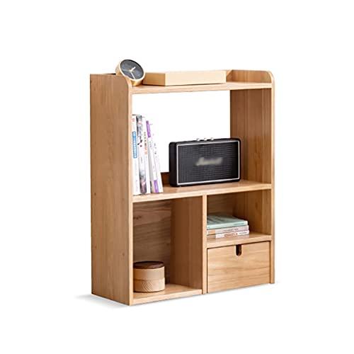AWYST Buch Halter Desktop Bücherregal Holz Bücherregal Büro Lagergestell mit Schubladen Desktop Organizer für CD-Filme Bücher Buchstützen