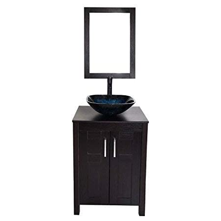 Bathroom Vanities 24 Inch With Sink Wall Mounted Eco Pvc Sink Cabinet Vanity Organizers With Counter Top Glass Vessel Sink Vanity Mirror And 1 5 Gpm Faucet Combo Vanity Ocean Blue Sink Amazon Com