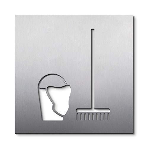 PHOS Edelstahl Design, PS3801, Piktogrammschild Putzraum Abstellkammer Abstellraum, 16 x 16 cm, Edelstahl gebürstet, selbstklebend, 100% Made in Germany