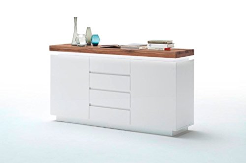 Moebel-Traeume Sideboard Romina MCA Eiche Massiv Weiss LED Braun Weiß Holz