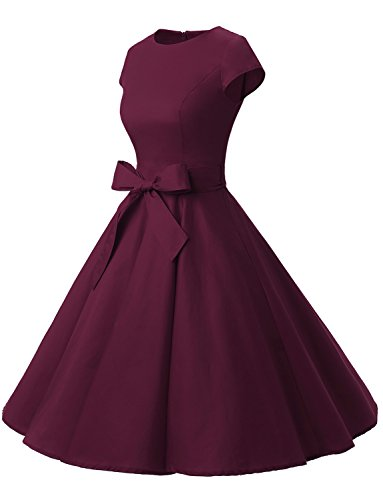 Dressystar DS1956 Women Vintage 1950s Retro Rockabilly Prom Dresses Cap-Sleeve L Burgundy