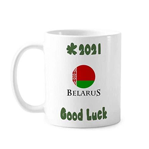 Weißrussland Osteuropäische Minsk-Flagge Viel Glück 2021 Tasse, Keramik, Kaffee, Porzellan, Geschirr