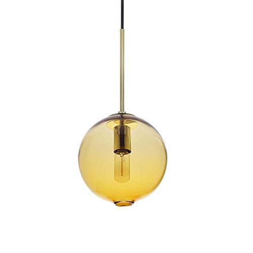 XIUYU LED Pendelleuchten, mundgeblasenem Glas Tropfen Deckenleuchten, Zeitgenössische Globe Hängeleuchte, 10 \'\' Diamter, Blau (Farbe: Weiß-25cm) (Farbe: Blau-25cm) (Color : Yellow25cm)