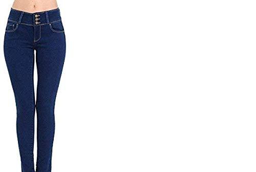 Wax Women's Juniors Body Flattering Mid Rise Skinny Jeans Dark Medium 5