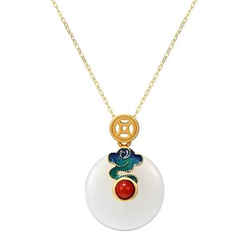 Xhlc El collar de plata 925 de la bendición de la paz para mujer, con incrustaciones de colgante de piedra roja del sur de jade Hetian, es el regalo perfecto para los ancianos en el cumpleaños.