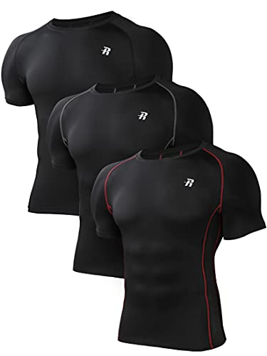 Runhit 3 Pack Compression Shirt for Men Short Sleeve T-Shirt Workout Athletic Running Shirt Base Layer UV Sun Protection Tops 3 Pack Black