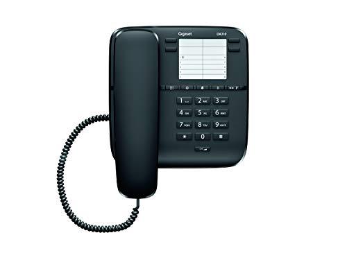Gigaset DA310 - Teléfono Fijo Sobremesa, 4 Marcaciones Directas, compatible para montar en pared, Color Negro