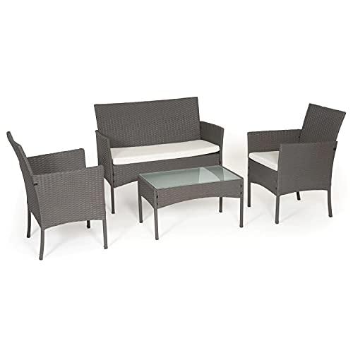 BENEFFITO Tulum - Mimbre Muebles de jardín 4 Espacios: 1 sofá, 2 sillones, 1 Mesa de café - repelentes al Agua y Cojines Desmontables con Cremallera - Gris/Amarillento