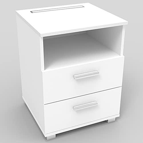 kalb | Mila - Nachtkonsole Nachttisch mit integriertem LED Licht, dimmbar Farbe: Weiß