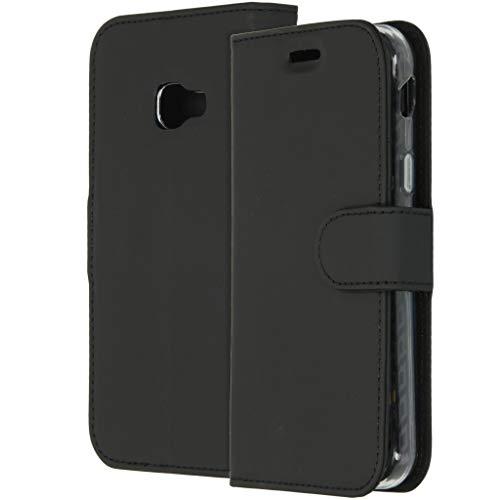 Accezz kompatibel mit Samsung Galaxy Xcover 4/4S Hülle – Wallet Soft Hülle Handytasche – Side Flip Handyhülle in Schwarz [3 Kartenfächer, Ständer, Magnetverschluss]