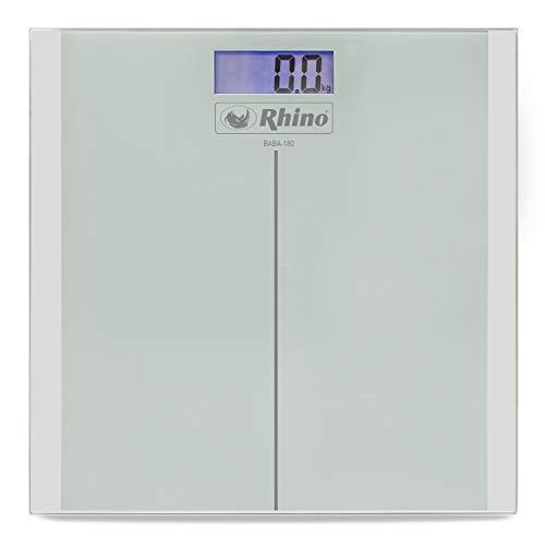 Rhino BABA-180. Báscula digital de baño para peso corporal. Diseño ligero y de fácil transportación, fabricada con cristal templado