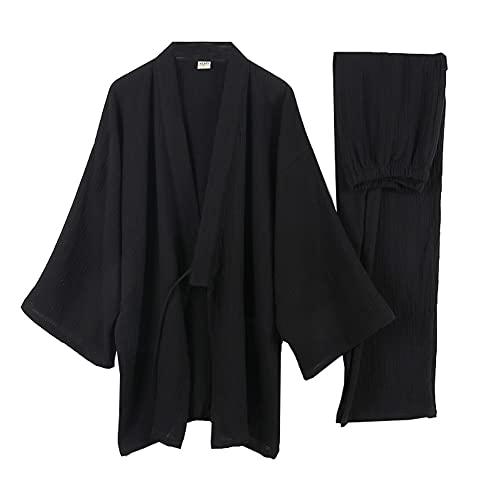 Japanische Kimono Loose Casual Home Pyjamas für Herren Nachtwäsche Größe XXL O35