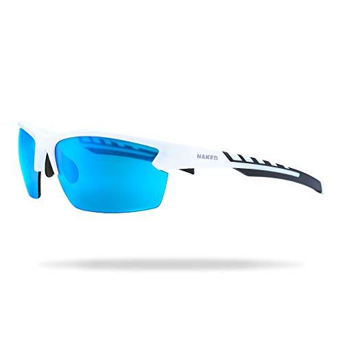 NAKED Optics® Sportbrille RUSH für Herren und Damen, Sportsonnenbrille mit Verspiegelten Gläsern, Sonnenbrille zum Radfahren, Laufen, Triathlon (RUSH Halfframe White / Lens Blue)